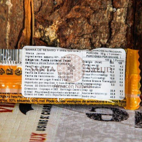 "Barrita sésamo miel ""Janis"" orgánica sin gluten 30 g. - Santasalud.cl"